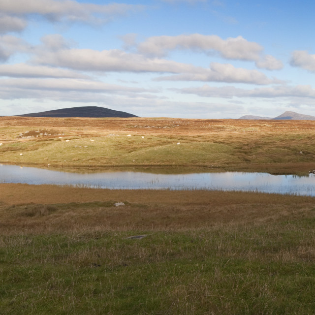 """Panoramic landscape of croft on Benbecular in the Outer Hebrides of Scotland"" stock image"