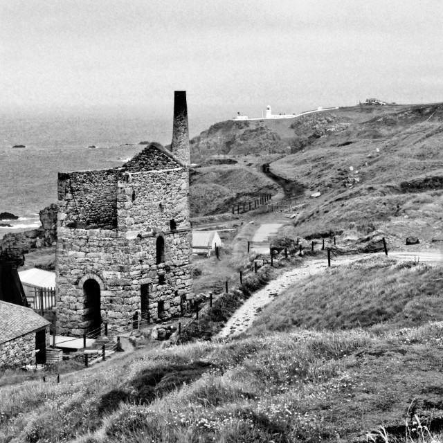 """Levant Tin Mine Black And White"" stock image"