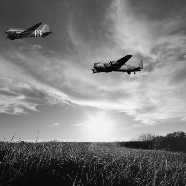 """Lancaster bomber and Dakota in formation"" stock image"
