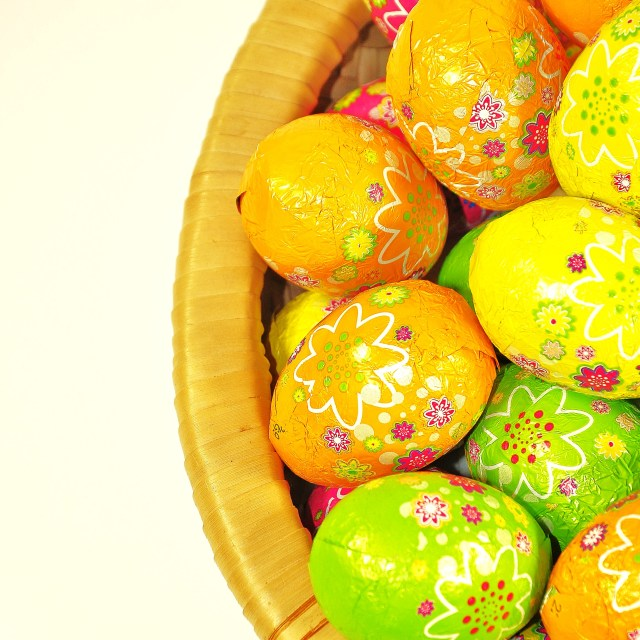 """Basket of Easter Eggs"" stock image"