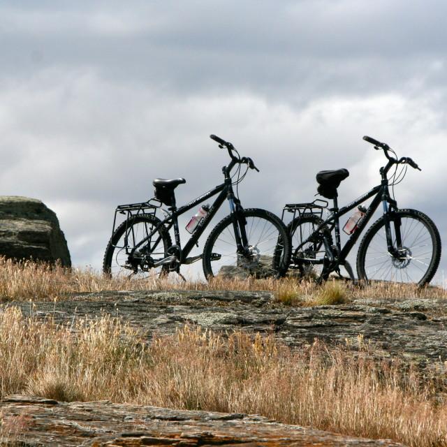 """Silhouette bikes"" stock image"