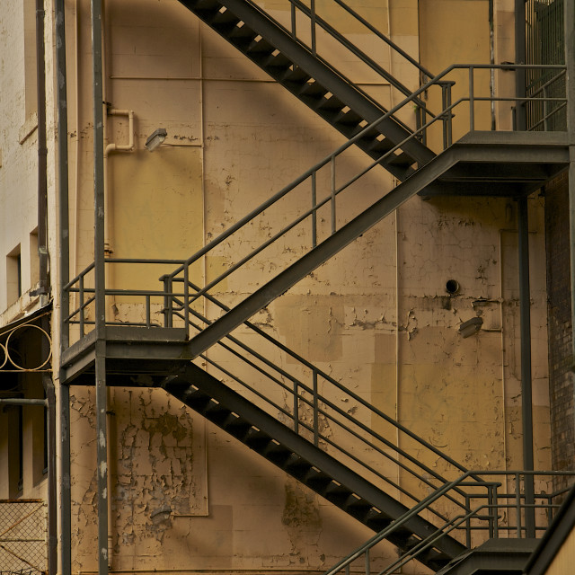 """Fire Escape stairs"" stock image"