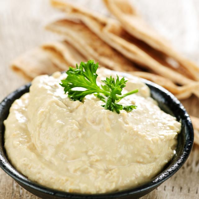 """Hummus with pita bread"" stock image"