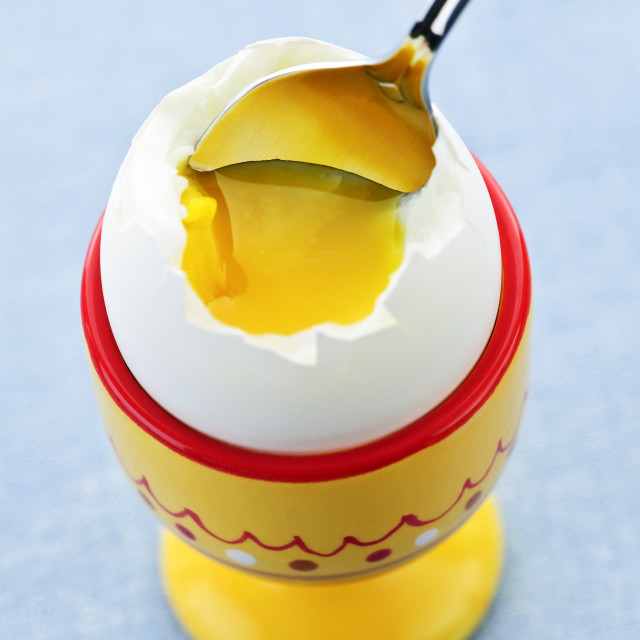 """Soft boiled egg in cup"" stock image"