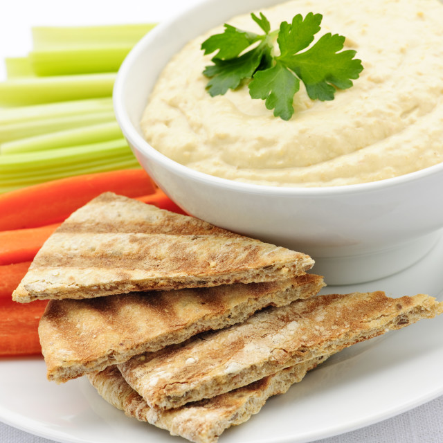 """""""Hummus with pita bread and vegetables"""" stock image"""