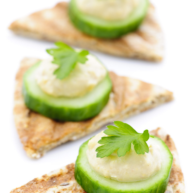 """""""Appetizer of pita with hummus and cucumber"""" stock image"""