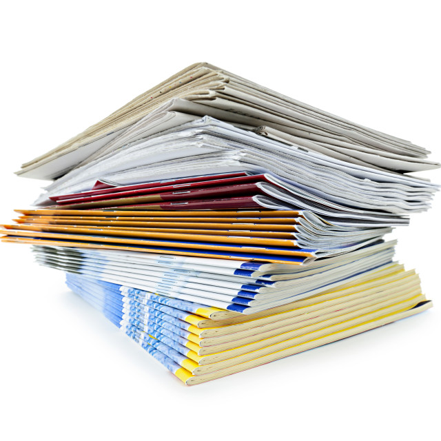 """""""Stack of magazines and newspapers"""" stock image"""