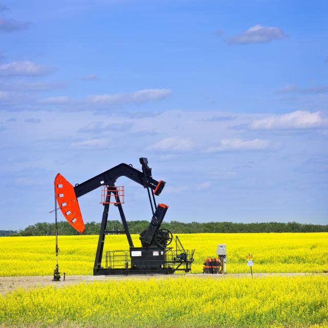 """Nodding oil pump in prairies"" stock image"