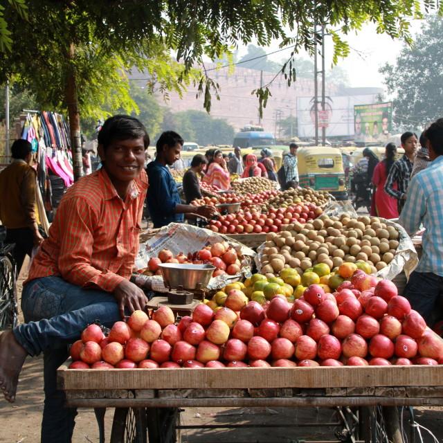 """""""Street scene in Delhi"""" stock image"""