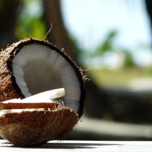 """""""Coconut - The Taste of Paradise"""" stock image"""