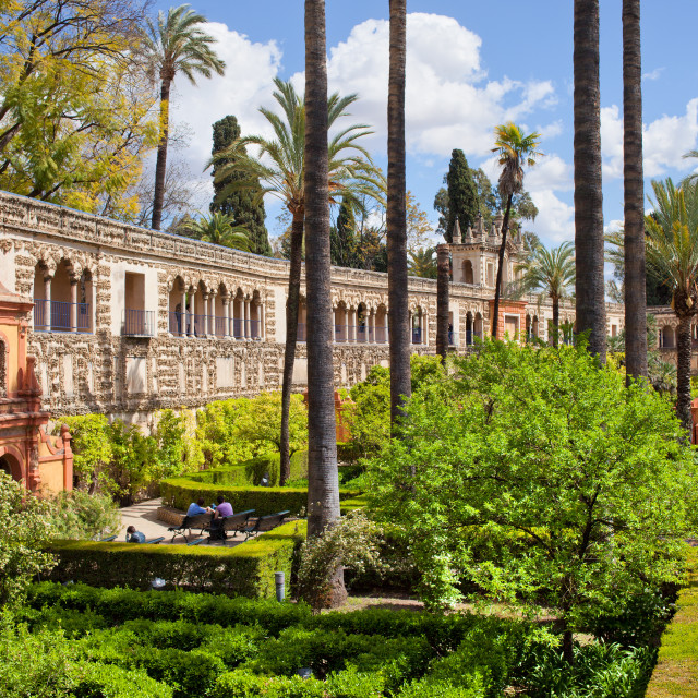 """Garden of the Pond in Real Alcazar of Seville"" stock image"