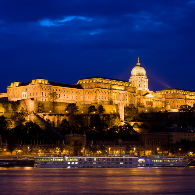 """Buda Castle at Night in Budapest"" stock image"