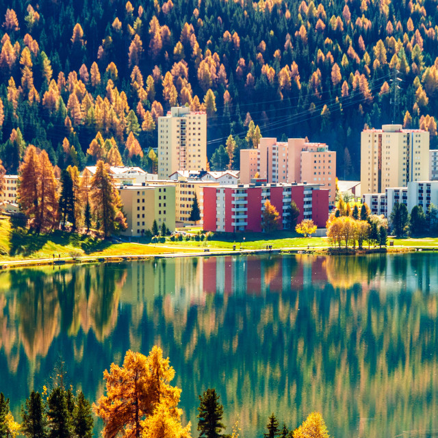 """Reflections in the St. Moritz lake, Switzerland."" stock image"