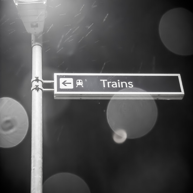 """Trains Sign"" stock image"