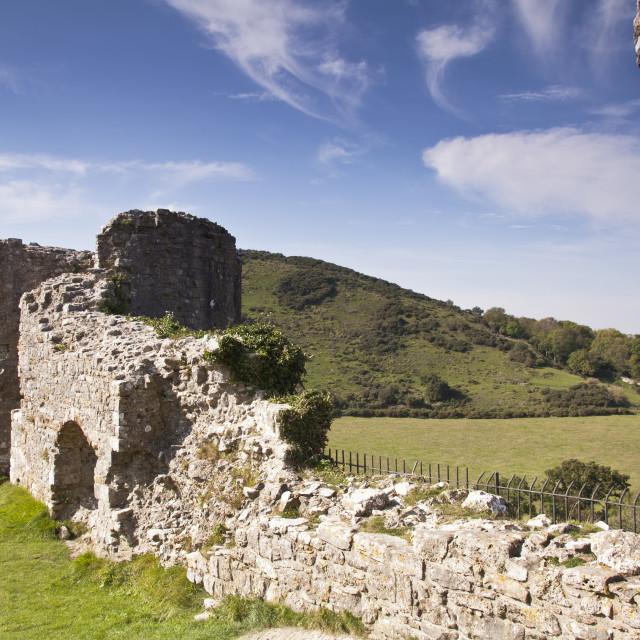 """Corfe castle ruins"" stock image"