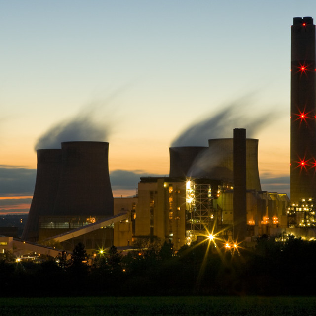 """Power Station at Dusk"" stock image"