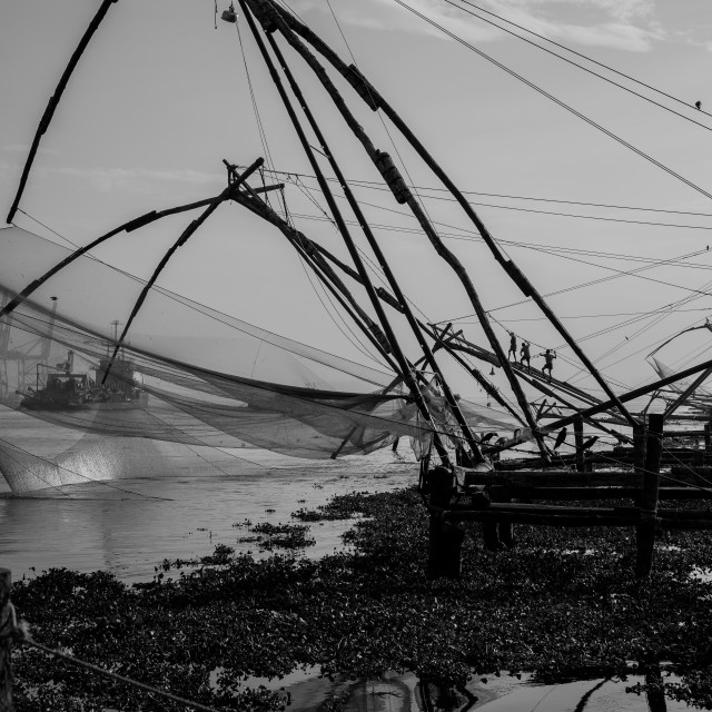 """Chinese Fishing Nets - Fort Kochi, Kerala, India"" stock image"