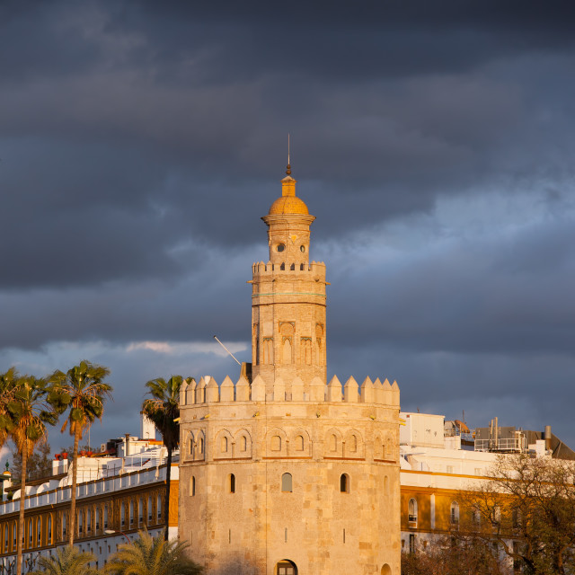 """""""Torre del Oro at Sunset in Seville"""" stock image"""