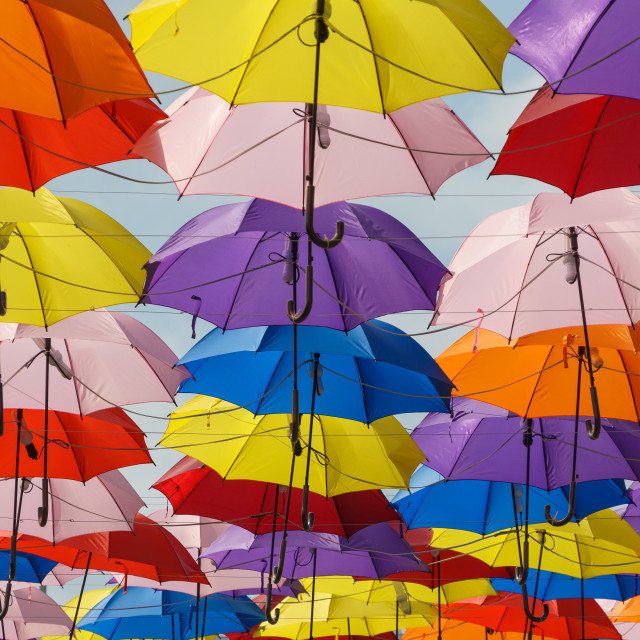 """colorful array of umbrellas"" stock image"