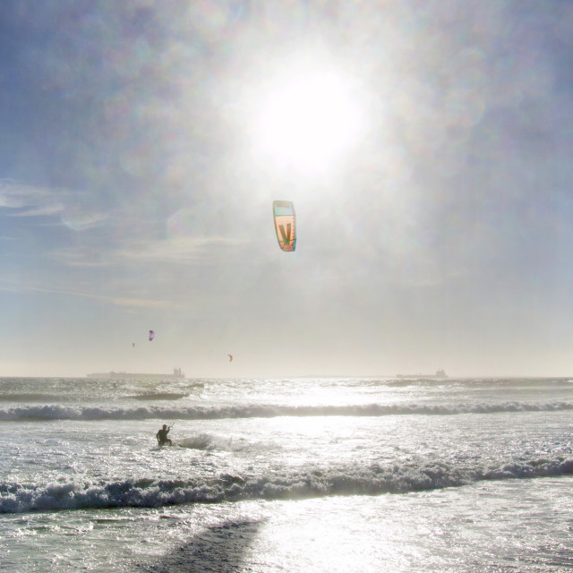 """Glittering Kite Surfer's Paradise in Cape Town, South Africa"" stock image"