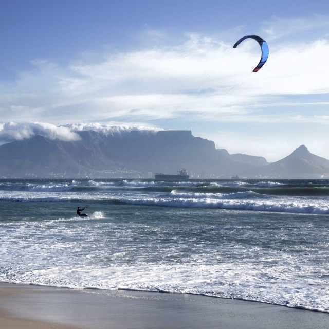 """Kite Surfing with Table Mountain as backdrop"" stock image"