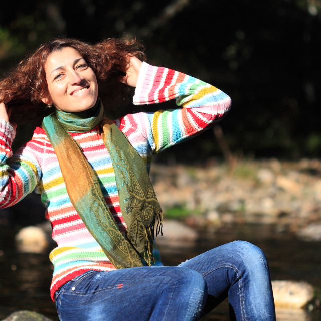 """""""Portrait of cute happy woman in nature"""" stock image"""