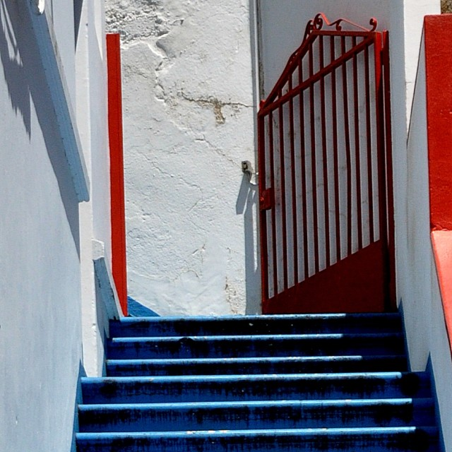 """Red, white and blue stairway"" stock image"