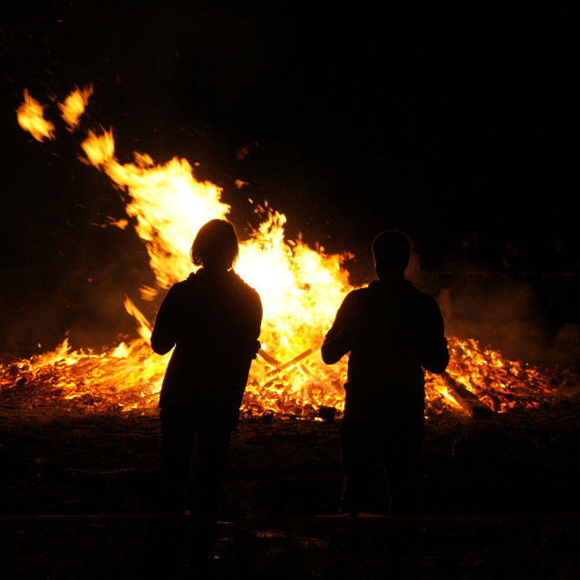 """""""fire silhouette couple"""" stock image"""