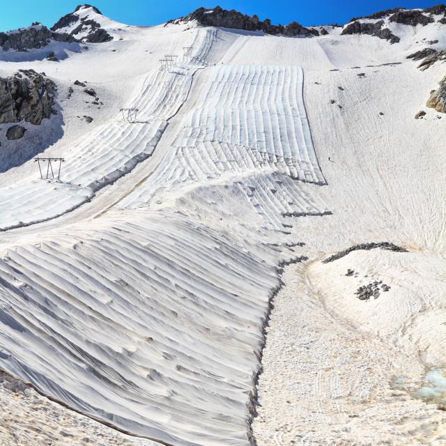 """geotextile fabrics in Presena glacier"" stock image"