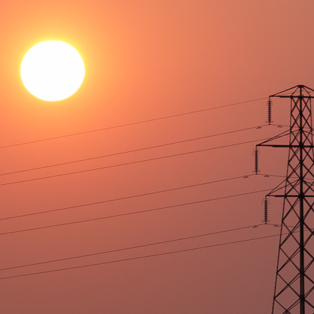 """Sun and power lines"" stock image"