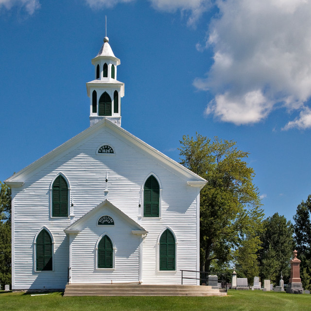 """The Little White Church on the Hill"" stock image"