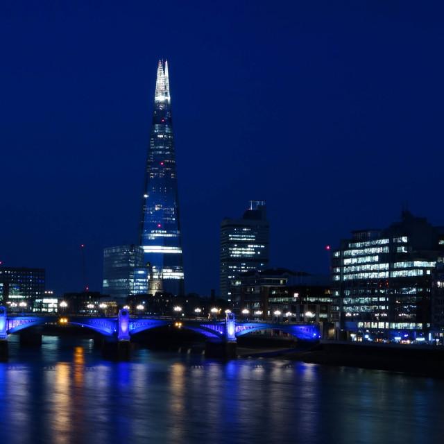 """The Shard & Southwark Bridge London"" stock image"