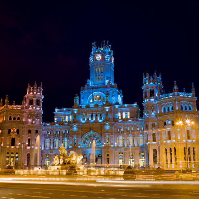 """Plaza de Cibeles at Night in Madrid"" stock image"