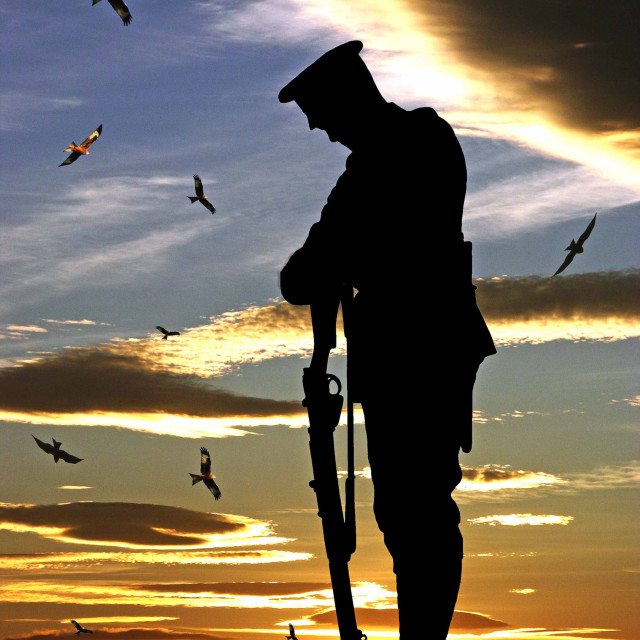 """Silhouette of a soldier during rememberence against the sunset"" stock image"