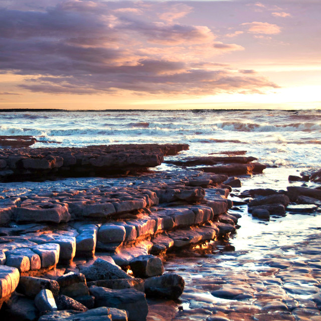 """Coastal erosion of cliffs and rocks at the south Wales coast"" stock image"