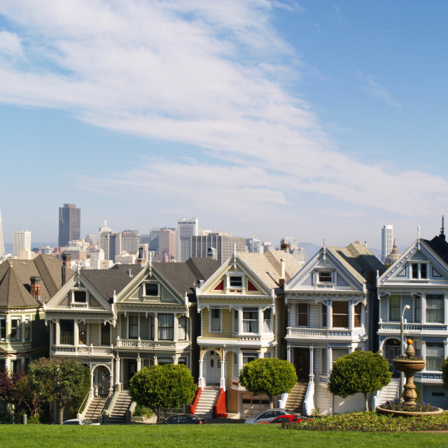 """The Painted Ladies of Alamo Square"" stock image"