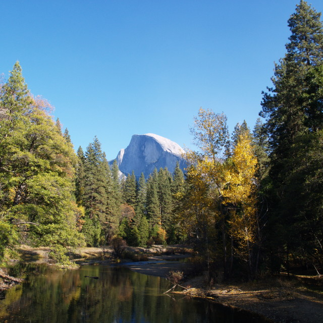 """Half Dome and the Merced River"" stock image"