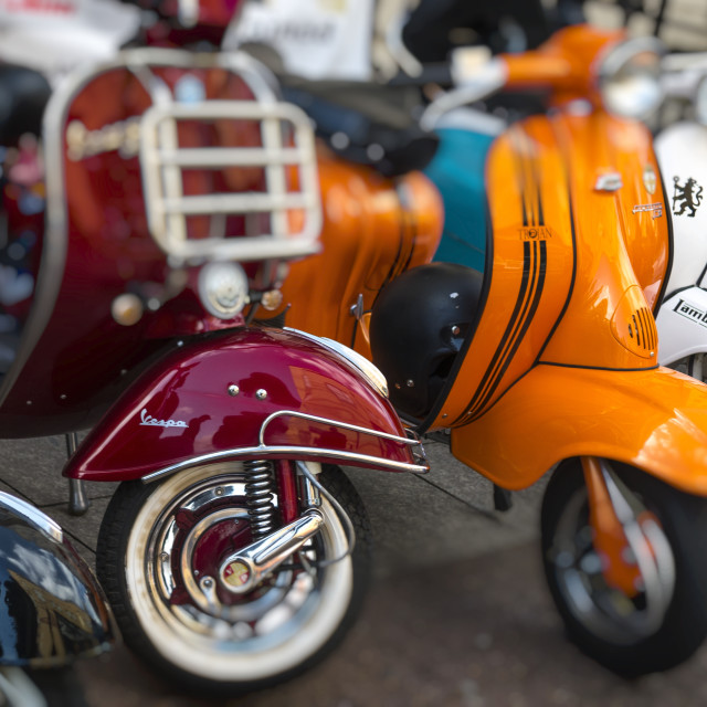 """Vintage Vespa and Lambretta Scooters."" stock image"