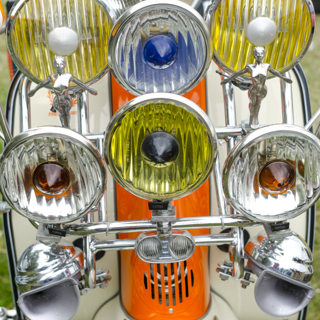 """Headlamps on a Lambretta Scooter"" stock image"