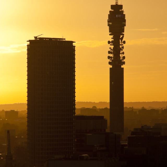 """Centre Point Building and The BT Tower"" stock image"