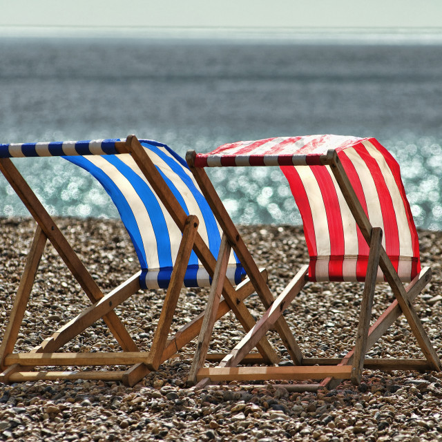 """Empty Deckchairs on Beach, Brighton, Sussex, Britain - 2010"" stock image"