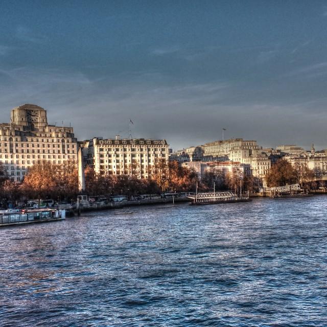 """Thames Golden Jubilee bridge"" stock image"