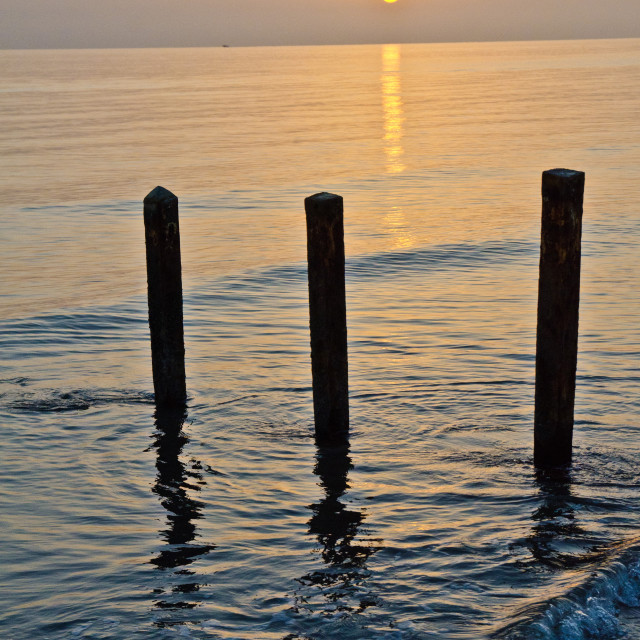 """""""Sunrise by the posts"""" stock image"""