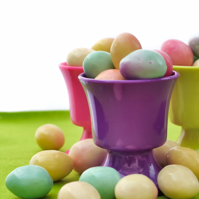"""Easter eggs in egg cups"" stock image"