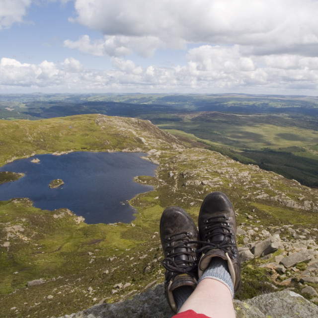 """Walking on Moel Siabod"" stock image"
