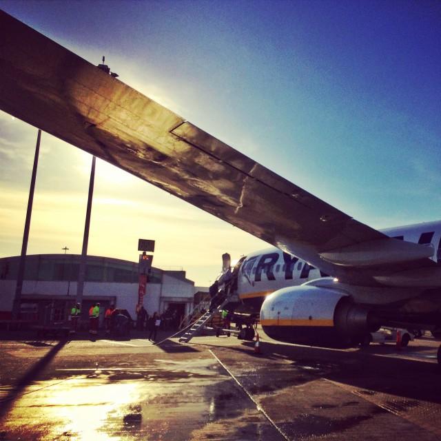"""Early morning Ryanair flight"" stock image"
