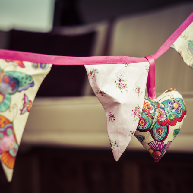 """Floral Bunting Heart"" stock image"