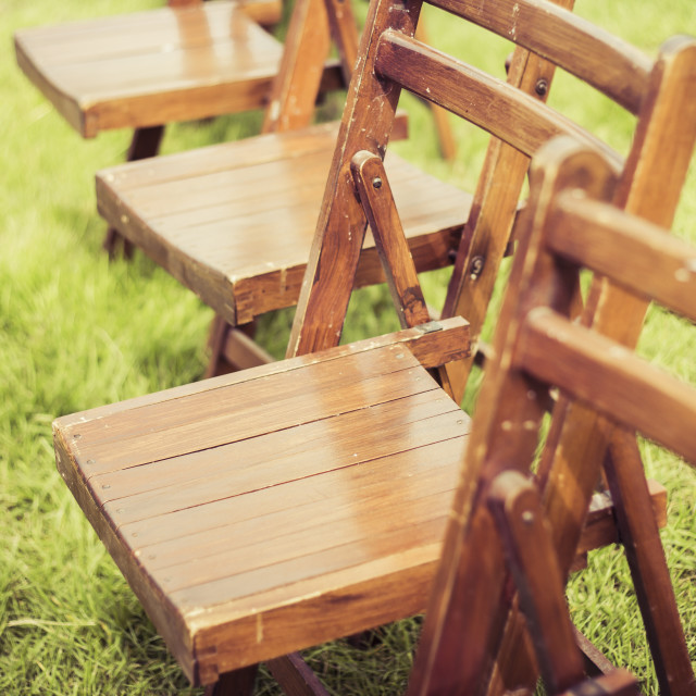 """Vintage Wooden School Chairs"" stock image"