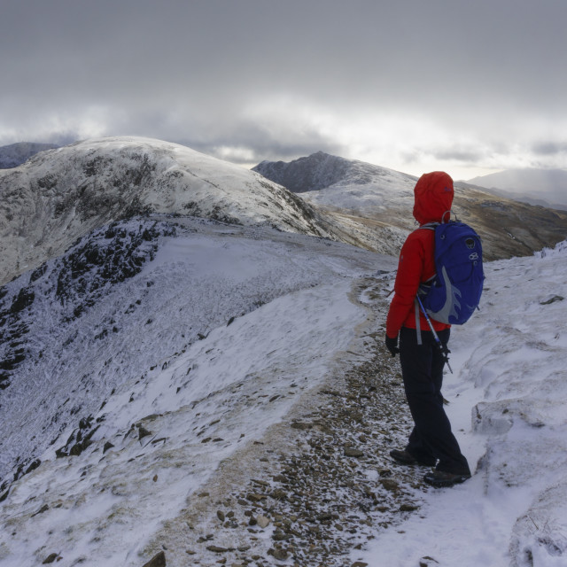 """Hiker on Coniston Old Man"" stock image"