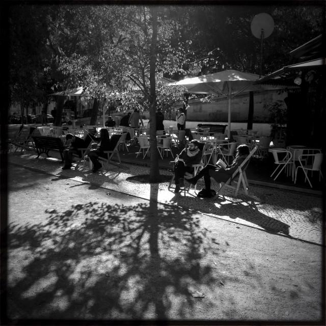 """Outdoor Cafe Lisbon Portugal"" stock image"